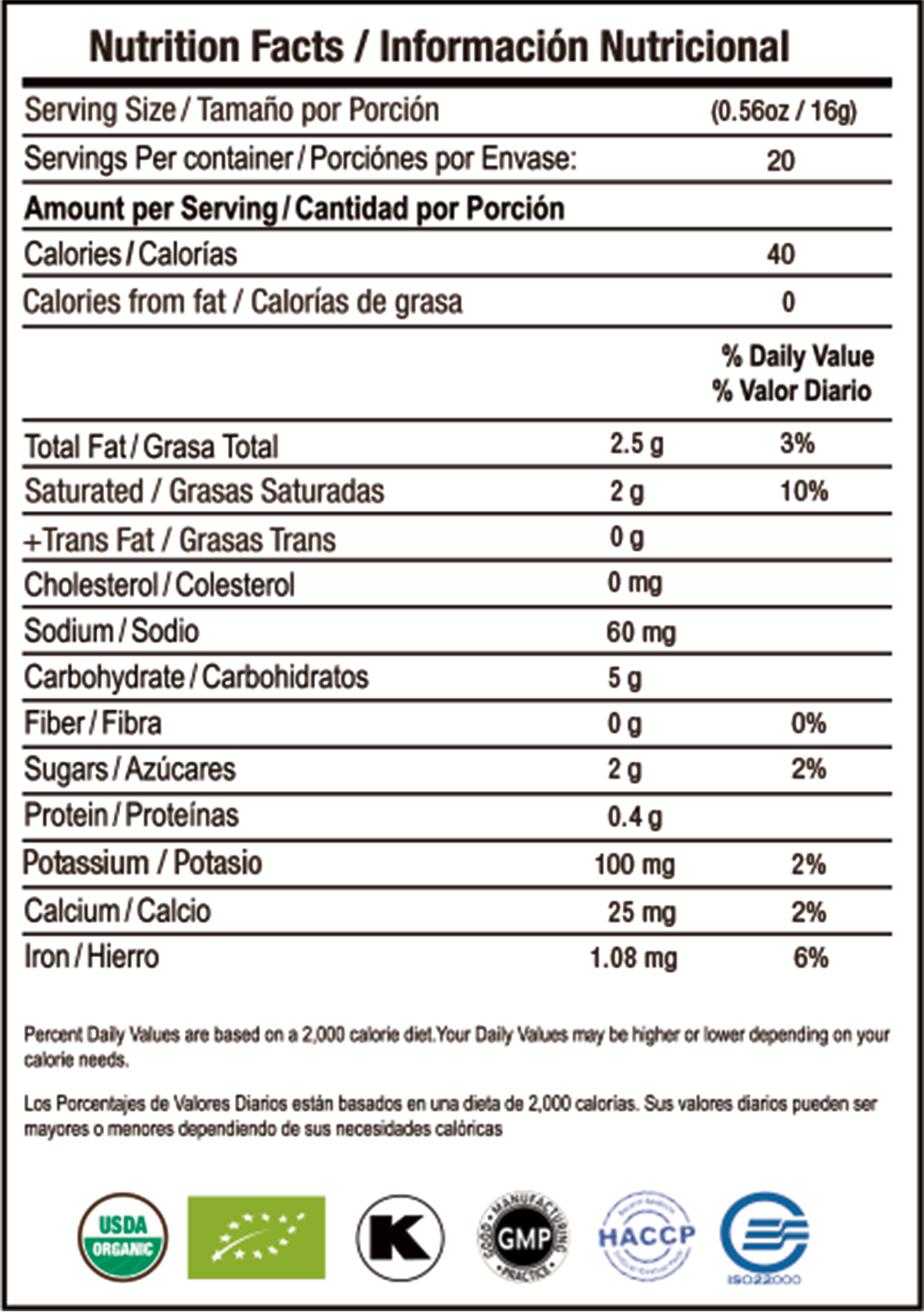 Latte Dorado nutrition facts
